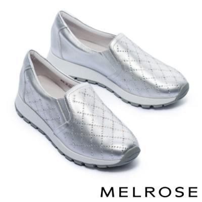休閒鞋 MELROSE 率性迷人璀璨晶鑽全真皮厚底休閒鞋-銀