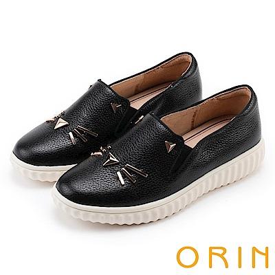 ORIN 甜美童趣 貓咪荔枝紋牛皮平底便鞋-黑色