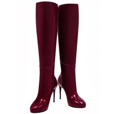 GUCCI 紫紅色亮面漆皮時尚高跟長靴(39號)