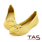 TAS反摺抓皺扣飾牛皮娃娃鞋-亮麗黃