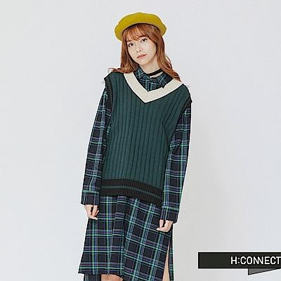 H:CONNECT 韓國品牌 女裝-復古配色V領針織背心-綠