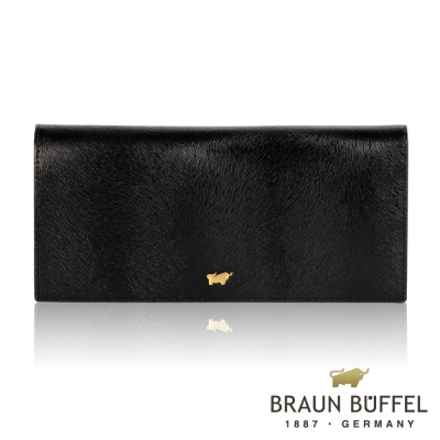 BRAUN BUFFEL - 奧菲莉亞P系列18卡兩折長夾 - 深黑