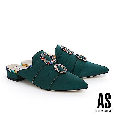 拖鞋 AS 繽紛彩鑽釦飾緞布穆勒低跟拖鞋-綠