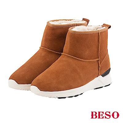 BESO 潮人街頭風 真牛麂皮暖呼呼運動雪靴~茶