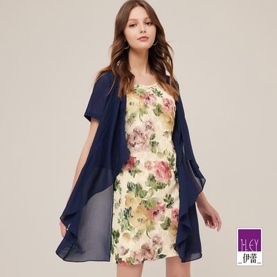ILEY伊蕾 古典柔美蕾絲花卉假兩件雪紡洋裝(深藍)1212037340