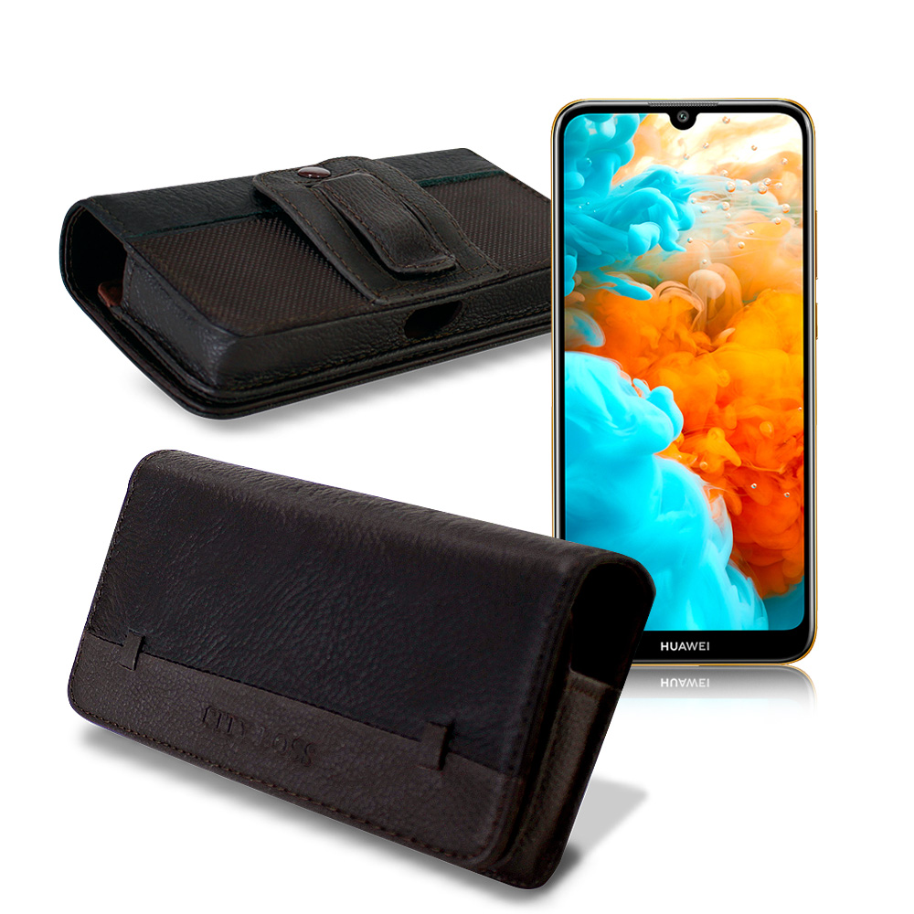CITY for HUAWEI Y6 Pro/ Y7 Pro 品味柔紋橫式腰掛皮套