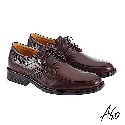 A.S.O機能休閒 萬步健康鞋 異材質搭配商務休閒鞋 咖啡