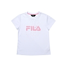 FILA KIDS 女童吸濕排汗上衣-白 5TEU-4913-WT