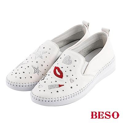 BESO 嗆辣女孩 燙鑽手工縫線休閒鞋~白