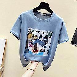 初色  卡通插畫印花T恤-共2色-(M-XL可選)