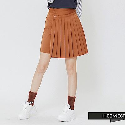 H:CONNECT 韓國品牌 女裝-單排釦拼接百摺短裙-棕