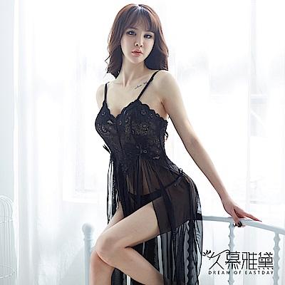 性感睡衣 鏤空花朵蕾絲側開叉吊帶長裙。黑色 久慕雅黛