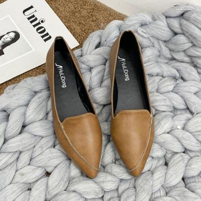 KEITH-WILL時尚鞋館 歐美時尚尖頭平底素面樂福鞋-棕