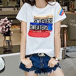 初色  時尚印花短袖T恤-共4色-(M-XL可選)
