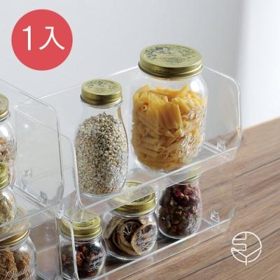 日本霜山 開放式可疊透明/文具/化妝品/小物收納盒-加長款-1入