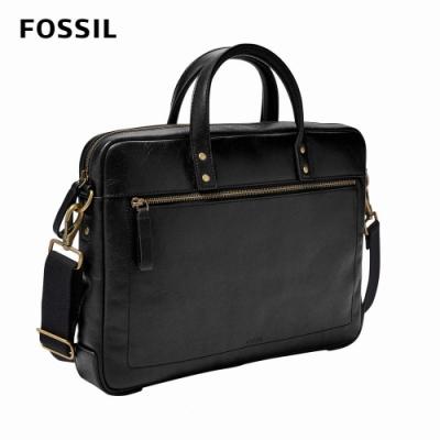 FOSSIL 母親節優惠 Haskell 真皮公事包-黑色 MBG9377001