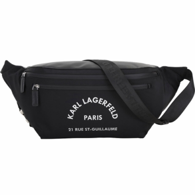 KARL LAGERFELD Rue St Guillaume 住址系列尼龍牛皮肩背包/腰包(大型/黑色)