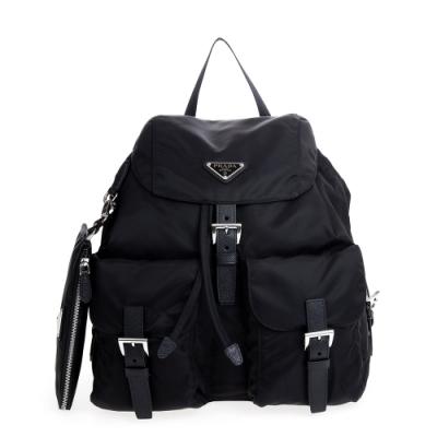 PRADA  新款束口磁釦雙口袋大款後背包 (黑色/附收納袋) 專櫃43000