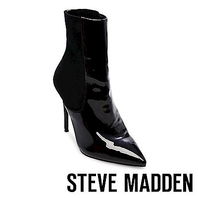 STEVE MADDEN-DIVINITY鏡面與針織設計尖頭細高跟短靴-鏡黑