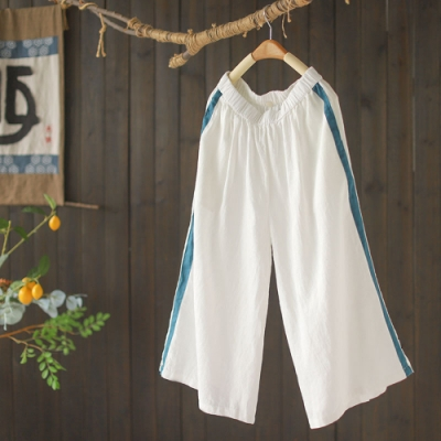 撞色拼條亞麻寬鬆洋氣休閒顯瘦七分褲子-設計所在