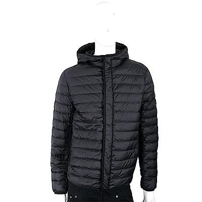 PRADA 三角牌絎縫設計炭黑色連帽羽絨衣(男款)