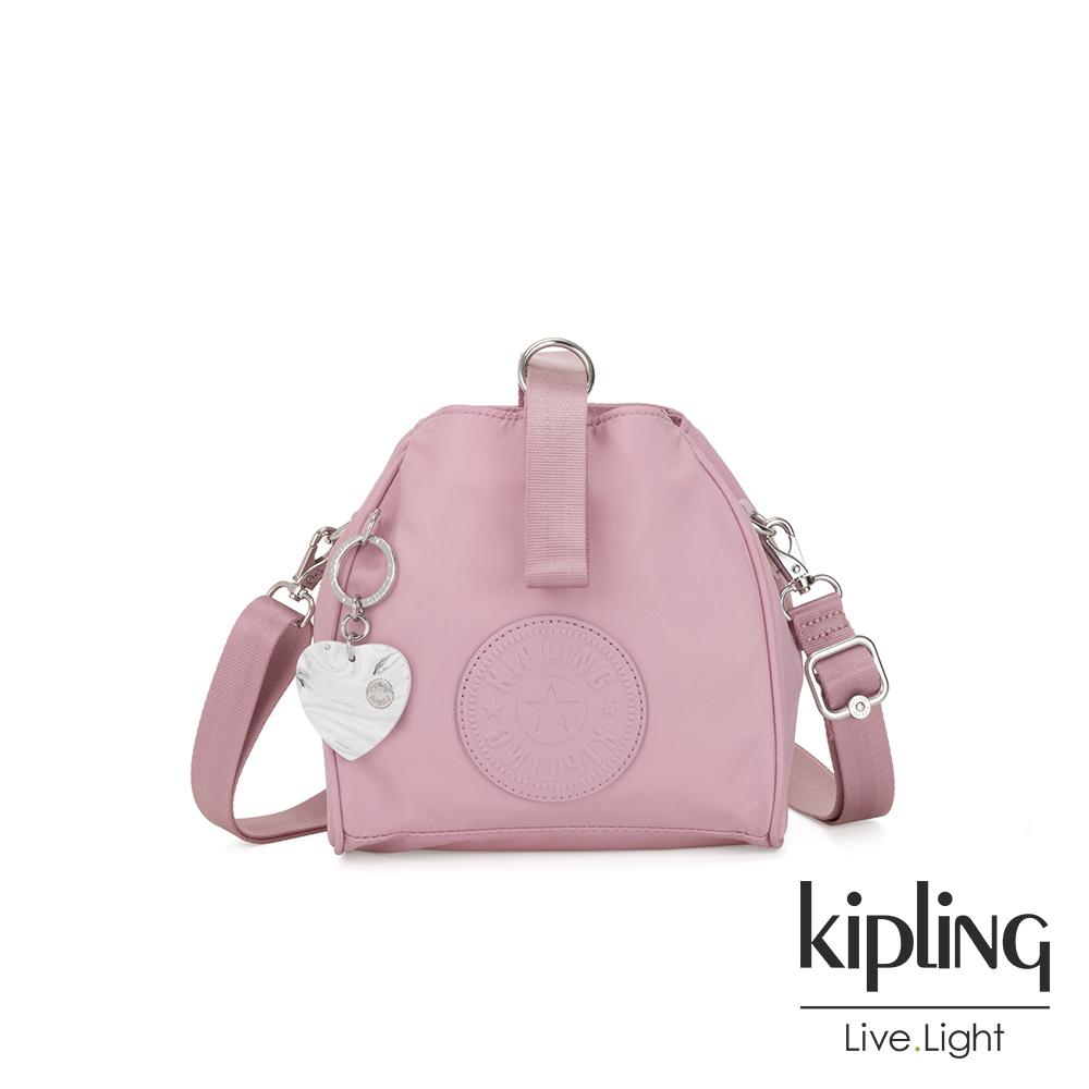 Kipling 亞洲限定款夢幻櫻花粉素面手提側背包-IMMIN