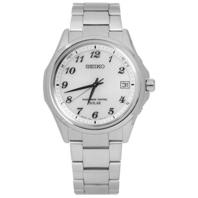 SEIKO 精工 SPIRIT 電波修正 太陽能 藍寶石水晶 不鏽鋼手錶-銀白色/38mm
