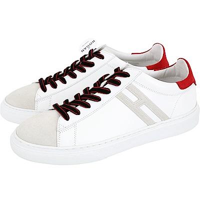 HOGAN H365 H 麂皮拼色繫帶都市滑板鞋(男款/白色)