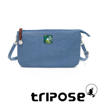tripose漫遊系列岩紋x微皺尼龍斜背皮夾包 水藍