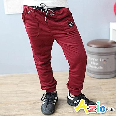 Azio Kids 褲子 鬆緊綁帶雙口袋卡車棉褲(棗紅)