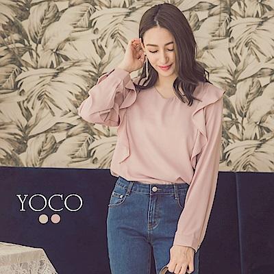 東京著衣-yoco 恬美優雅荷葉V領雪紡上衣-S.M.L(共二色)