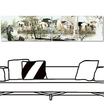 橙品油畫布 多聯式方形掛畫無框畫-湖畔40x40cm