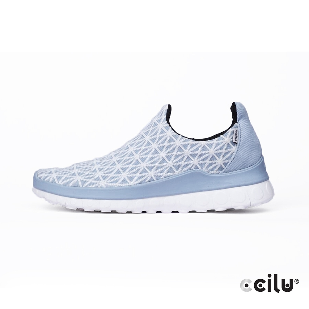 CCILU  幾何飛織網布休閒運動鞋-女款-302369007冰河藍
