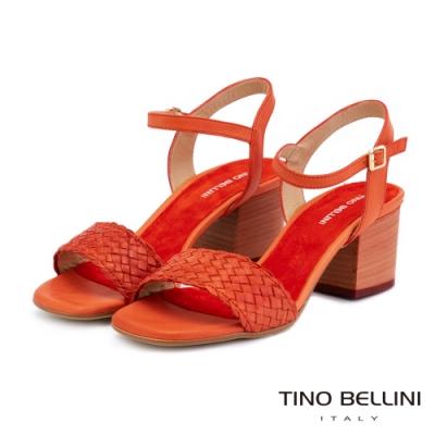 Tino Bellini阿爾巴尼亞典雅編織中跟涼鞋_紅