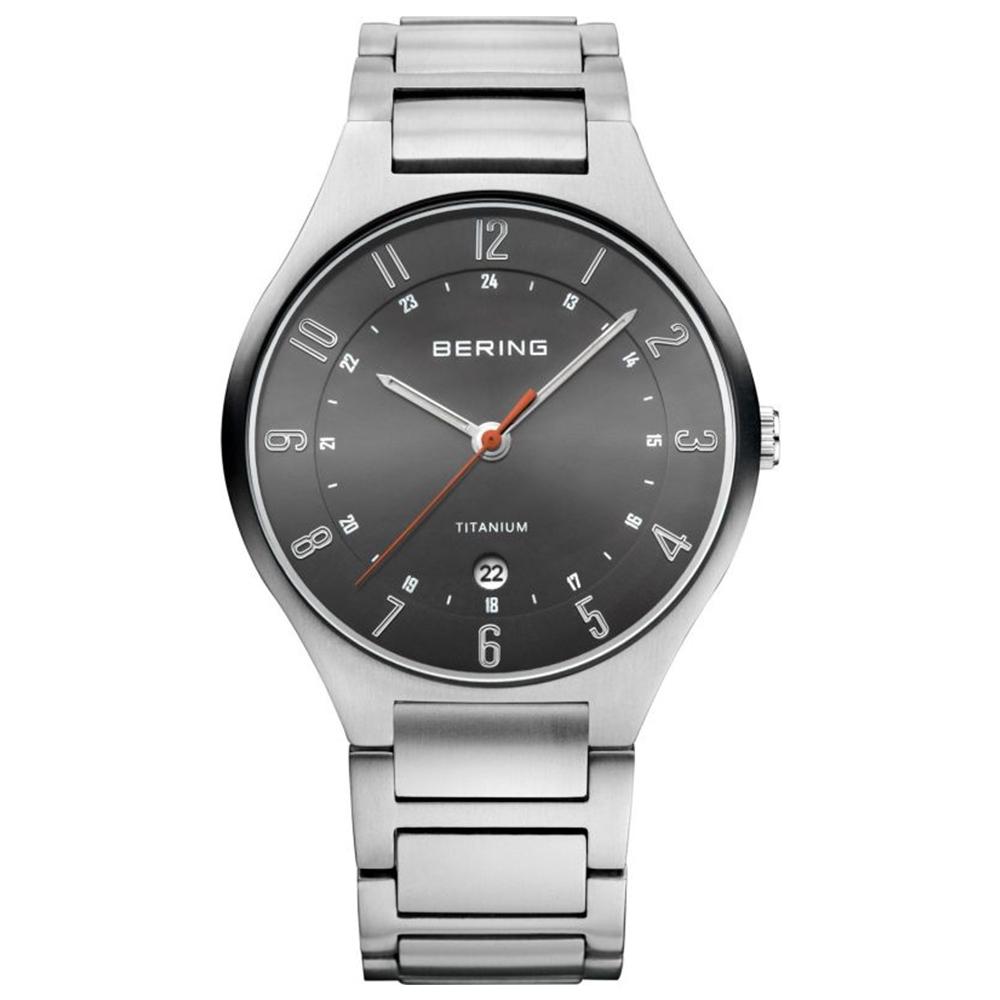 BERING丹麥精品手錶 日期顯示鈦合金屬錶系列 黑x銀色39mm