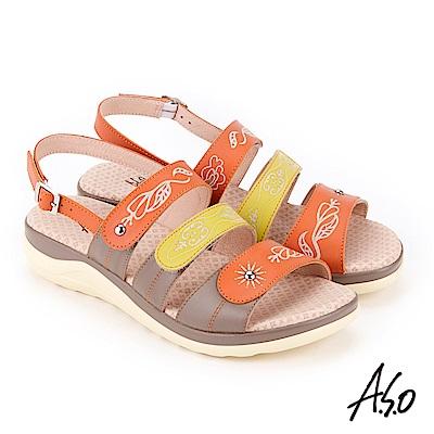 A.S.O 挺麗氣墊 全真皮撞色圖騰抗菌奈米鞋墊休閒涼鞋 橘