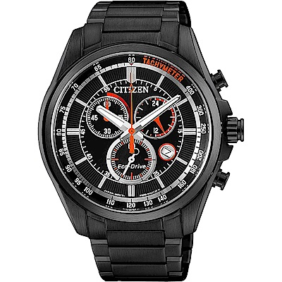 CITIZEN 星辰 Eco-Drive 經典光動能計時腕錶-黑/42mm