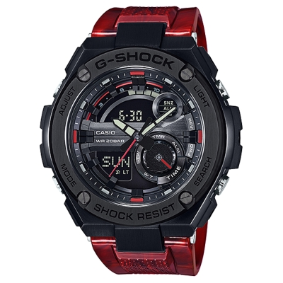 G-SHOCK精密防震分層防護構造概念休閒錶(GST-210M-4A)火焰紅52.4mm