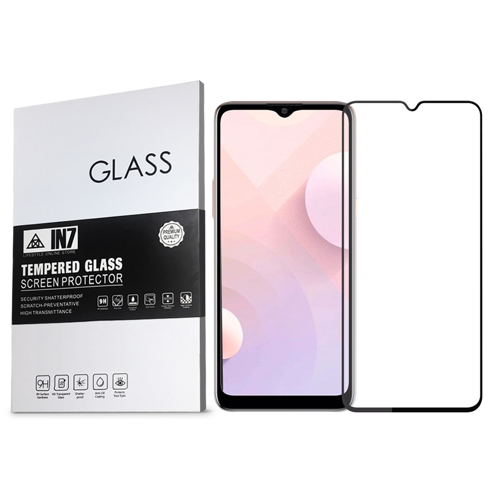 IN7 HTC Desire 20+ (6.5吋) 高清 高透光2.5D滿版9H鋼化玻璃保護貼 疏油疏水 鋼化膜-黑色