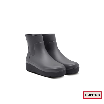 HUNTER - 女鞋-Refined平底切爾西踝靴 - 霧灰