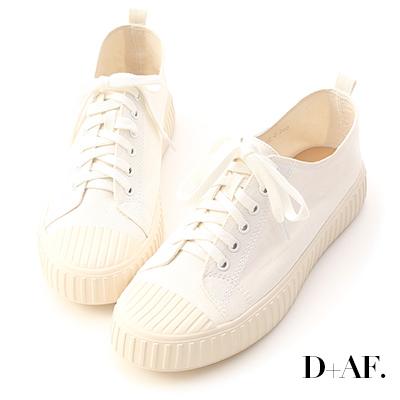 D+AF 玩色趣味.多色帆布休閒餅乾鞋*白