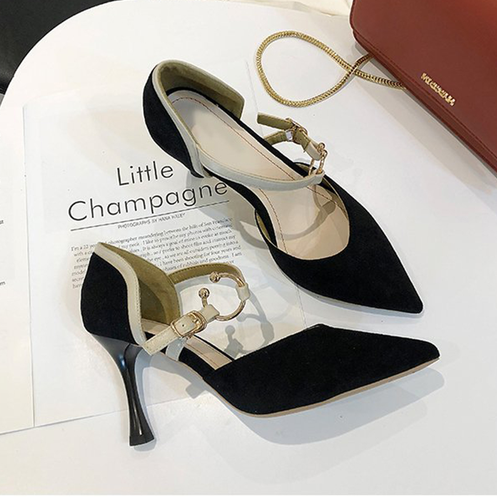 KEITH-WILL時尚鞋館 超有型單色潮流綁帶尖頭細跟鞋-黑色