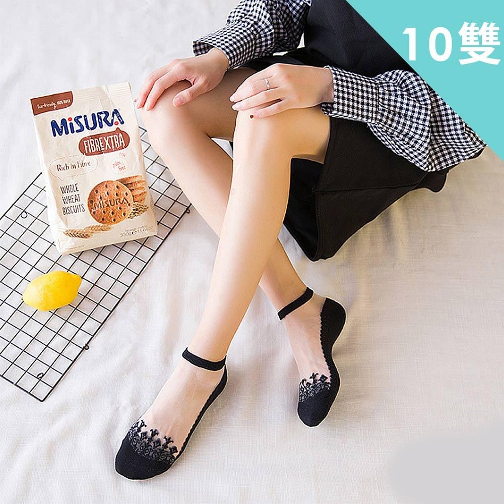 LNY 日韓透氣水晶玻璃絲刺繡襪(超值10雙-隨機)