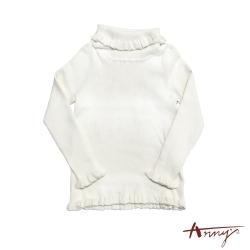 Annys可愛淘氣高領荷葉邊針織舒適保暖長袖上衣*7290米白