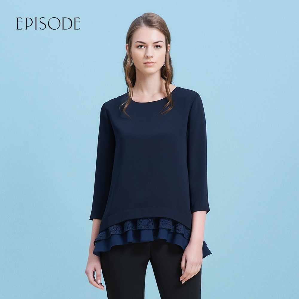 EPISODE - 蕾絲花邊多層次下擺顯瘦七分袖上衣