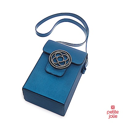Petite Jolie--經典徽章掀蓋相機包-蔚藍