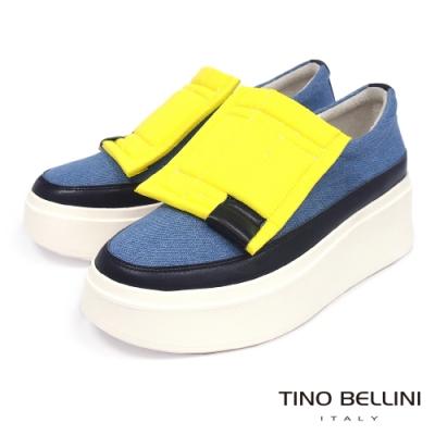 Tino Bellini 潮流元素撞色造型厚底休閒鞋-牛仔藍