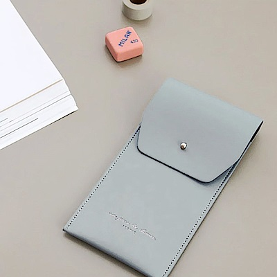 ICONIC職人風簡約純色皮革筆袋-鐵灰藍