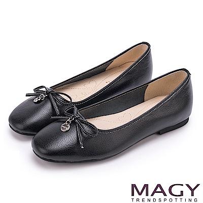 MAGY 清新女孩 百搭細帶蝴蝶結牛皮娃娃鞋-黑色