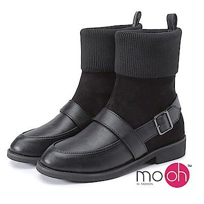 mo.oh-拼接皮帶扣兩穿毛線襪短靴-黑色
